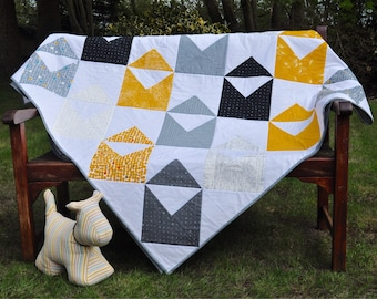 NEW!! Large Patchwork Bed Quilt in contemporary colours