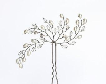 699_White silver wedding hair pins, Bridal crystals hair pins, Rhinestones hair pins, Natural freshwater pearls hair pins, Wedding hair pins