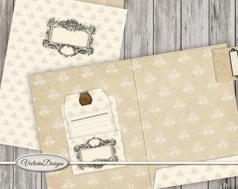 Printable File folder kit paper crafting craft scrapbooking diy vintage pattern organize instant download digital collage sheet - VDMIVI0927