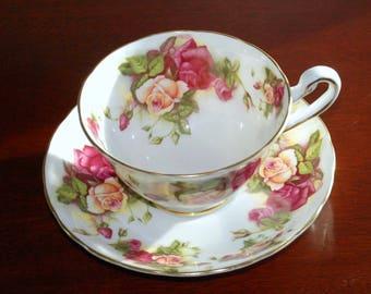Royal Chelsea TEA Cup & Saucer, Coffee Tea Roses Porcelain Set