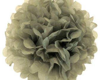 Grey Tissue Pom Poms 4  inch Set of 2 /Weddings/Showers/Birthdays/Parties