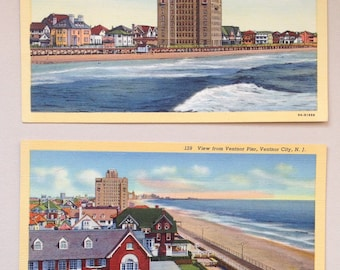 Ventnor NJ, Vintage Postcards, Lot of two, 1939, The Beach and Boardwalk, Ventnor Post Card, Margate, Atlantic City, New Jersey