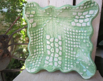 Green and White Lace Ceramic Dish