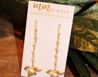 Gold Pearl and Flower Rosary Earrings