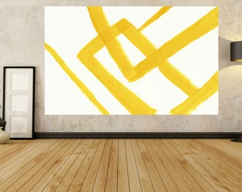 Abstract Painting On Canvas, Vertical Canvas Painting, Extra Large Wall Art, Abstract canvas, Handmade, yellow and white minimalist Art