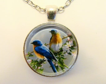 BLUE BIRDS of HAPPINESS Necklace -- Glorious nature, Gift for nature and bird lovers, Wedding necklace, Friendship token