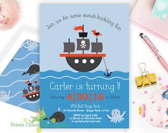 Pirate Ship Party Invite •Sailboat • Sea Creature •Print Yourself or Here