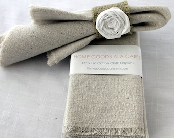 8 Cloth Napkins Unbleached Cotton Set of 8
