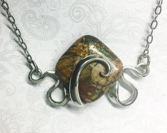 Fork Necklace, Mosaic Jasper, Silverware Jewelry