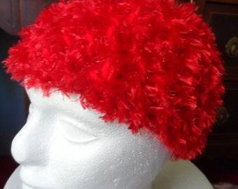 Fuzzy Red Child's Winter Crochet Beanie Hat