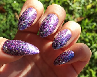 Purple pink glitter stilleto nails, false acrylic nails, kawaii nails