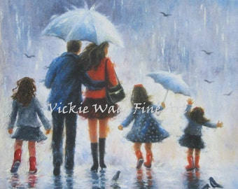 Family Art Print three daughters, father mother three girls, three sisters, rain family wall art dad and mom art, umbrellas, Vickie Wade Art