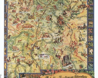 antique map of New Mexico Santa Fe illustration digital download