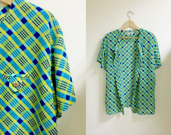 Open front short sleeves plaid blouse blue & yellow