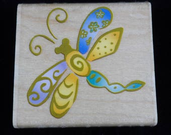 Rubber Stampede Whimsical Dragonfly Insect Stamp Mounted Used Insect Stamp, Nature Stamp, Card Making, Art Journal collage, papercrafting