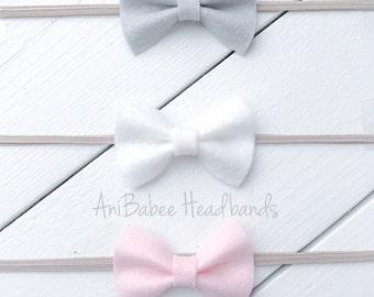 Felt Bow Headband Set, Baby Headband, Baby Bow Headband Set, Newborn  Headband, Felt Bow Headband, Bow headband set, felt headband, bow head