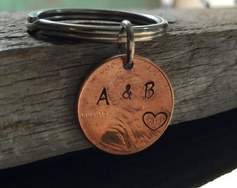 Penny keychain, husband Penny key ring, couples keychain, initials key chain, lucky penny, custom keychain, boyfriend, personalized keychain