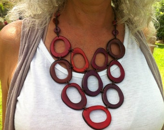Bold Tagua Nut Statement Necklace in Reds. Artisan Necklace, Natural Necklace. Artisan Made using Fair Trade Tagua.