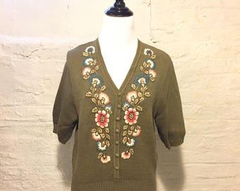 Vintage 1970s Evan-Picone Brand Olive Green Sweater - 3/4 Length Sleeves