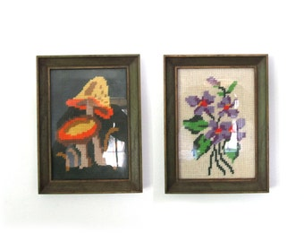 vintage wall hangings crewel mushroom 1970s needlepoint set of two 2 yarn art framed