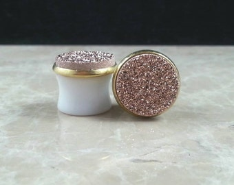 "Round Rose Gold Copper Genuine Druzy Drusy Plugs Gauges Gages in 9/16"", 14mm Wedding Bridal Bridesmaid"