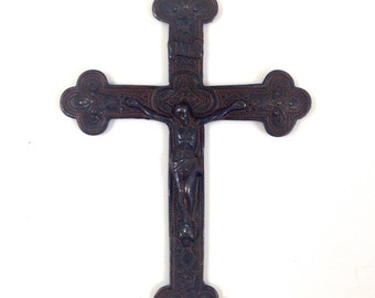 2 Crucifix Cross Pendants, rustic finish, 4206RU