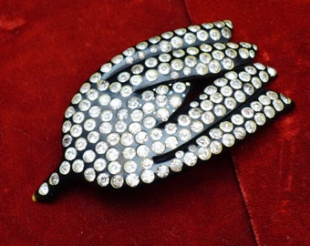 Black Celluloid Flapper Brooch Adorned with Clear Rhinestones