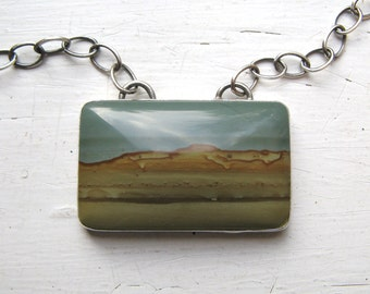 Large Picture Jasper and Sterling Silver Necklace