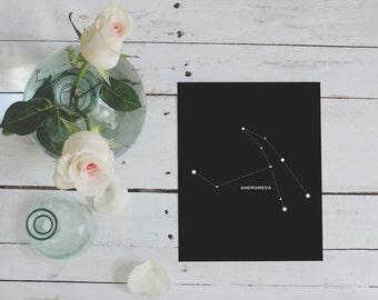 Andromeda, Constellation, Astrology, Wall Decor, Digital Download, Constellations, Zodiac, Stars, Andromeda Print, Home Decor, Night Sky