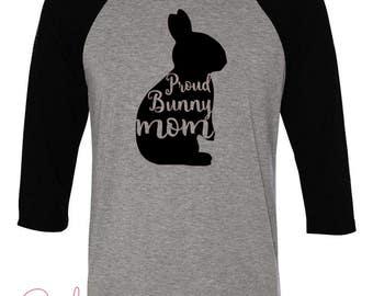 Bunny Mom Shirt- Women's Gray T-shirt
