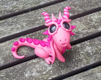 Pink dragon miniature,  polymer clay.
