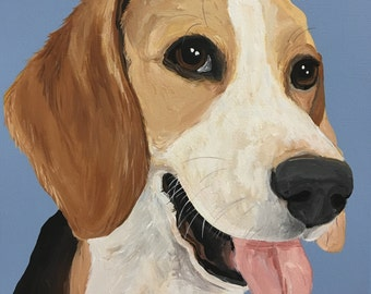 Custom Dog Portrait, 12 x 12 Custom Dog Portrait, Custom Dog Painting, Custom Pet Portrait, Paint My Pup, Gift for Dog Lover