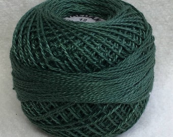 Valdani 39 Size 12 Pearl Cotton Solid Color Hand Dyed Thread Color Forest Green