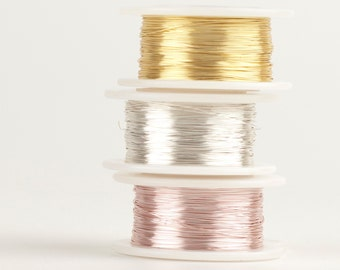Precious Metal Silver plated Craft Wire, 28 gauge Extra long wire spools,  360 feet,  Non tarnish gold wire, silver wire , rose gold wire