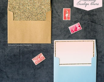 Printed Matching Envelope Liner   A2 Sized Liner   Sparkle Gold Glitter Wedding Liner   Unique Way To Ask Your Best Friend   Pretty Envelope