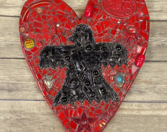 Thunderbird Heart Wall Art Mixed Media Red Black Native American Horse Western Collage Mosaic