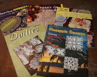 Vintage 5 Crochet Doilie Book lot #2 Coats & Clarks Doilie pattern books  Book No. 279 Book No. 314 Lily patten book