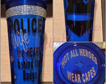 Police Wife 20oz Bling Cup Custom Personalized