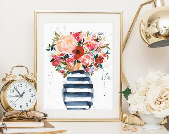 Watercolor Botanical art print-flowers in vase-8x10 wall art-original design