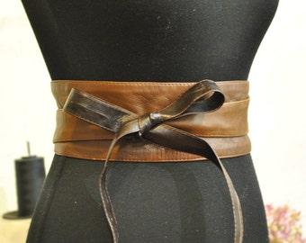 Brown obi belt, Lether obi belt, Brown leather obi belt.