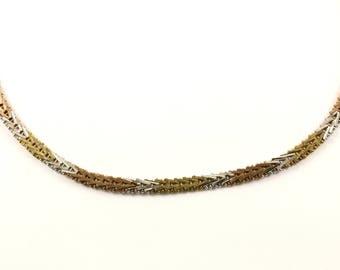 Vintage Three Tone Herringbone Design Necklace 925 Sterling Silver NC 1546