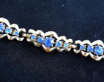 Vintage Coro Bracelet, Blue Rhinestones, Link Style Bracelet, Vintage Bracelet Signed Coro