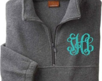 Monogrammed Personalized Fleece Pullover quarter zip jacket Big Little Sorority Sizes S - XL