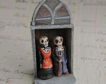 American Gothic Mexican folk art minishrine