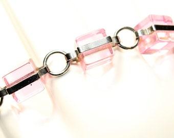 Pink Cubes and Gold Coloured Vintage Bangle Bracelet by Storm (c1990s)