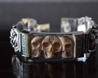 Men .925 Sterling Silver Navajo and handcarved fossil ivory skulls and turquoise mosaic Bracelet