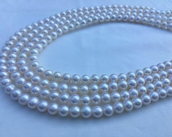 7-7.5mm Akoya Like Freshwater Pearl Strand, Natural White Near Round Cultured Pearl Necklace Strand, Bridal Pearl Necklace, Wedding Jewelry