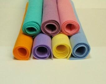 "Easter Egg 7 Color Wool Blend Felt Fabric Sheets 12"" x 18"""