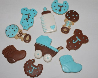 Baby shower cookies boy