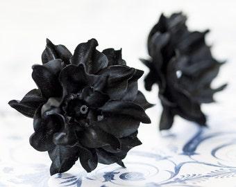 714_Black hair flower, Floral hair accessories, Retro flower, Hair accessories 20s, Hair pins flowers, Hair clips flowers, Flower barettes.